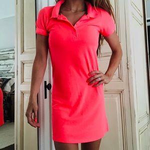 Neon coral polo dress xs